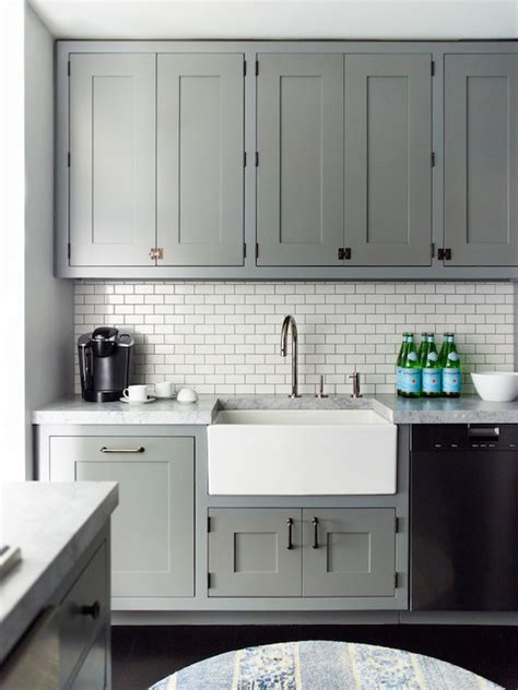 gray and white kitchen cabinets kitchen grey cabinets apron sink white subway tile back