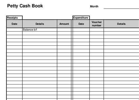 Petty Book Template Free petty book template free 28 images 3 printable receipt
