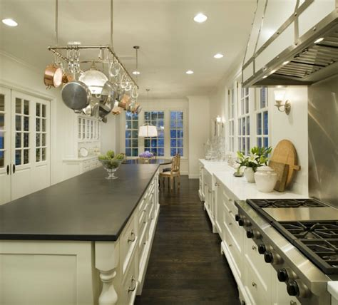 Soapstone Island Countertop by White Kitchen Cabinets With Marble Countertops