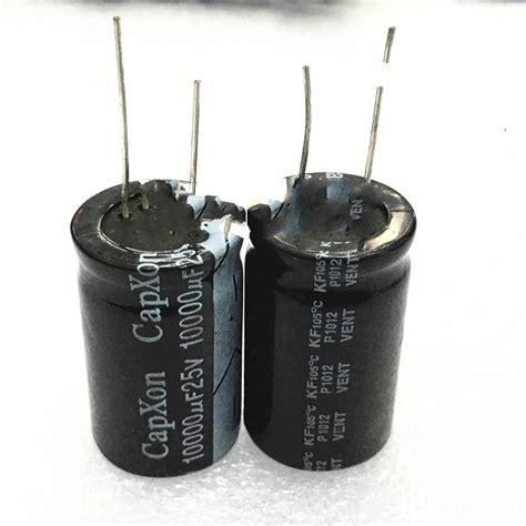 capacitor less uf free shipping 2pcs 25v 10000uf volume 22 x35 lead foot 10000 uf electrolytic capacitor 25 v in