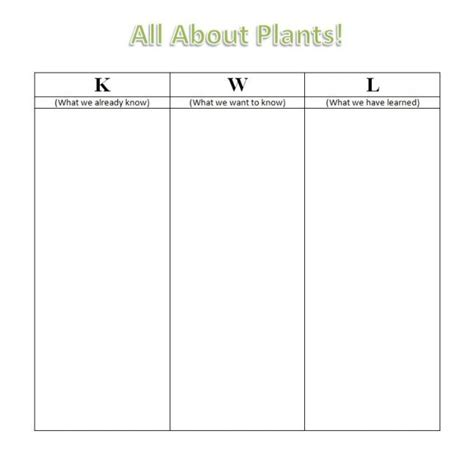 kwl template summative assessment planteducationunit