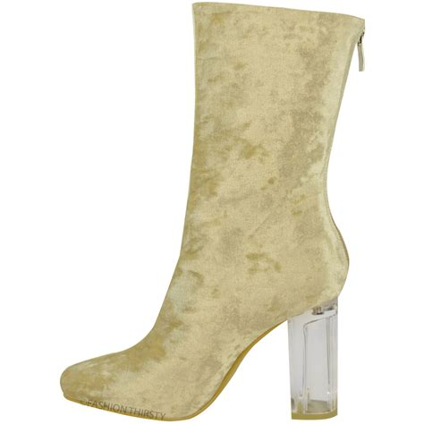 womens ankle boots clear perspex block high heels