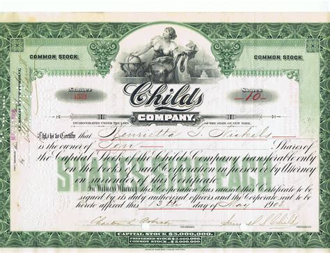 stock photo company file childs company stock certificate 1908 jpg wikipedia