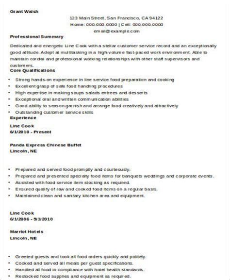 Resume Words For Line Cook Sle Cook Resume 8 Exles In Word Pdf