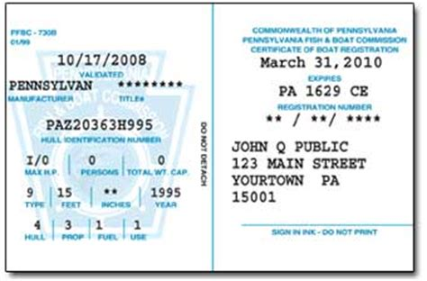 pa boat license registration your vessel s certificate of boat registration and decals