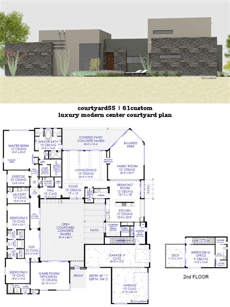 house plan with courtyard luxury modern courtyard house plan 61custom contemporary modern house plans