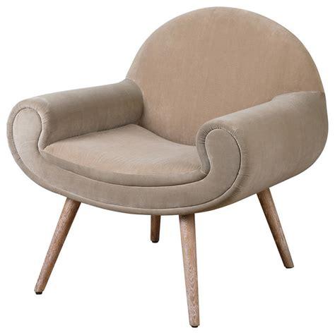 Retro Accent Chair Retro Modern Velvet Beige Accent Chair Solid Wood Armchairs And Accent Chairs By My Swanky Home