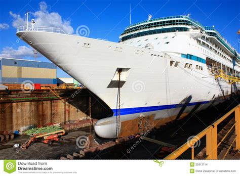 cruise ship dry dock huge cruise ship at dry dock stock photo image 22813114