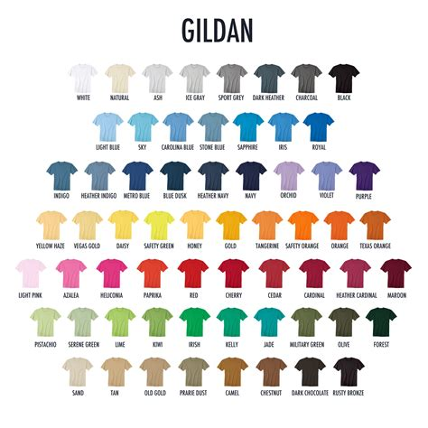 gildan tshirt colors t shirts colors yourlogoworks