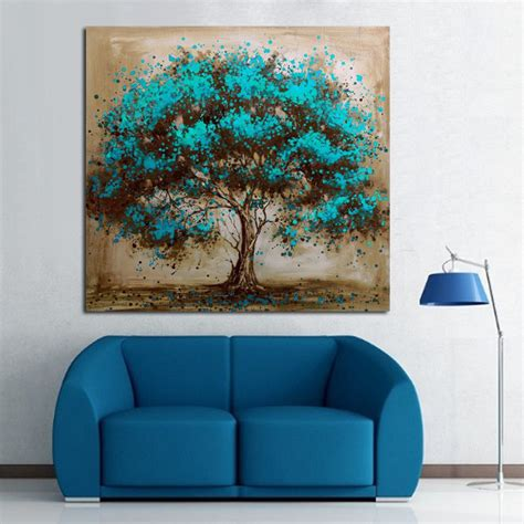 Aliexpress Com Buy Handpainted Modern Abstract Blue Tree Wall Decoration Painting