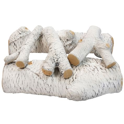 fireplace ceramic logs 16 inch birch ceramic fireplace gas logs 5 set