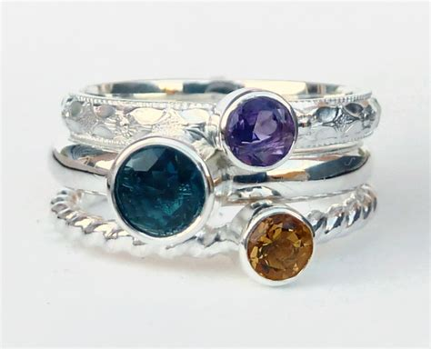 Birthstone Rings by Mothers Ring 3 Birthstone Stacking Rings Family Ring