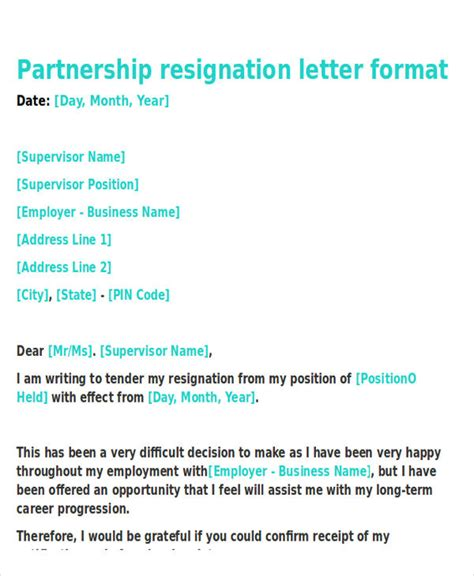 application letter for business partnership business resignation letter template 10 free word pdf