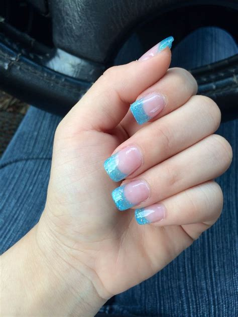 blue light for nails blue glitter acrylic nails french tip nails acrylic