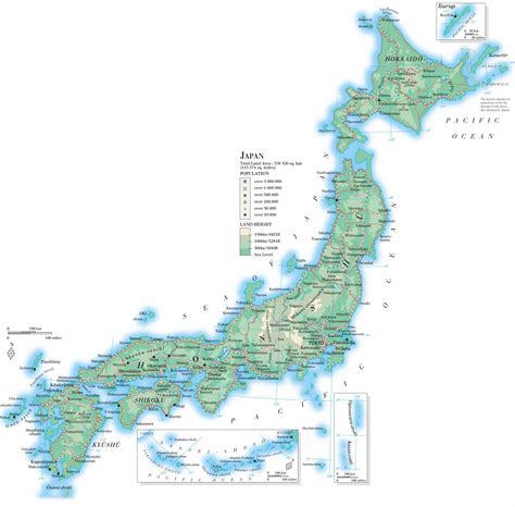 map of japan large detailed road and topographical map of japan japan