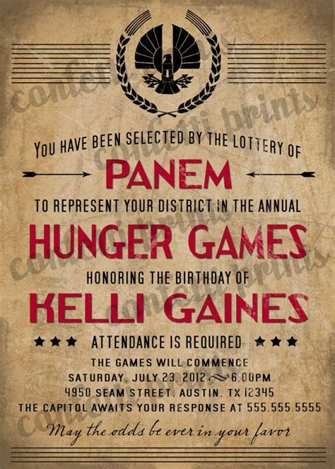 printable hunger games birthday invitations 48 best images about priscilla s hunger games party on