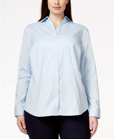 Macy S White Button Blouse by Charter Club Plus Size Button Blouse Only At Macy S