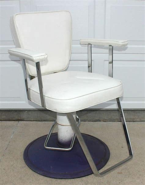 vtg mid century white salon barber chair modecraft vinyl
