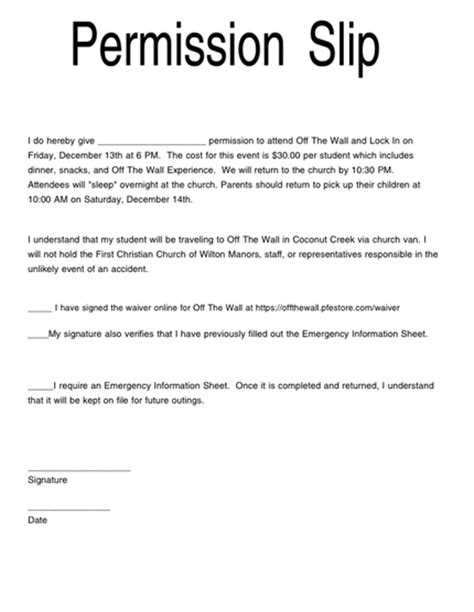 permission slip first christian church of wilton manors