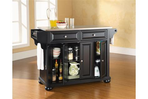 black kitchen island with stainless steel top alexandria stainless steel top kitchen island in black finish by crosley