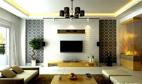 Living Room With Custom TV Unit Design and False Ceiling