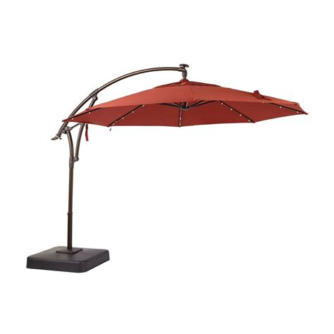 11 Offset Patio Umbrella Hton Bay 11 Ft Led Offset Patio Umbrella In Sunbrella Henna Yjaf052 C The Home Depot