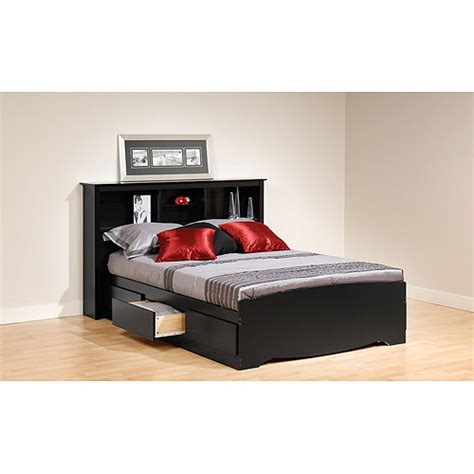 Bed With Headboard Storage Prepac Brisbane Platform Storage Bed With Storage Headboard Black Walmart