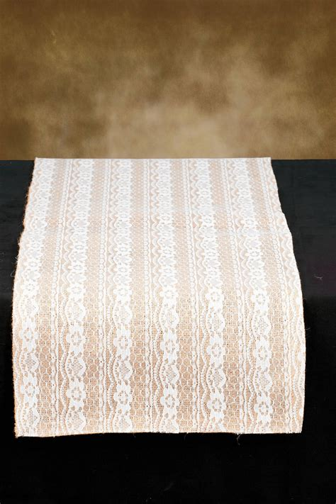 Burlap Table Runner With Lace by Table Runner Burlap Lace 14x72in