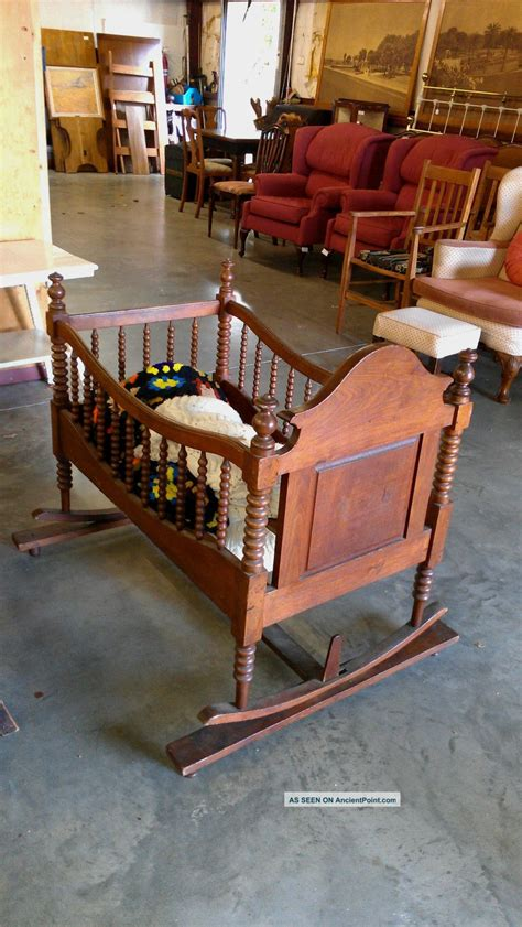 antique early american  century wooden cradle hand