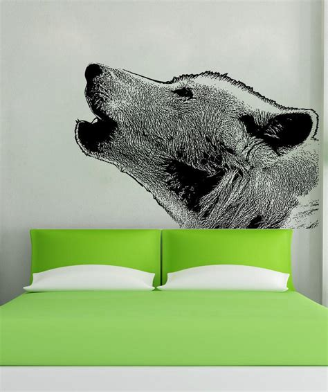 wolf wall stickers vinyl wall decal sticker wolf howling 5478