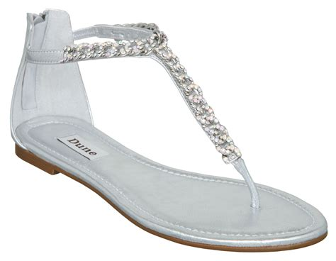 silver flat sandal dune killer d diamante chain flat sandals in silver lyst