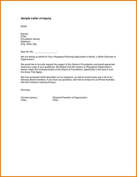 inspirational business inquiry letter sle for support vatansun
