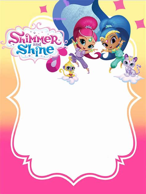 Shimmer And Shine Invitations For Girls Free Invitation Templates Shimmer And Shine Invitations Templates