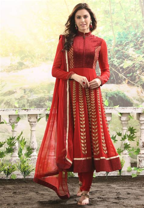 new pattern dress indian red color stylish suits anarkali umbrella frocks designs