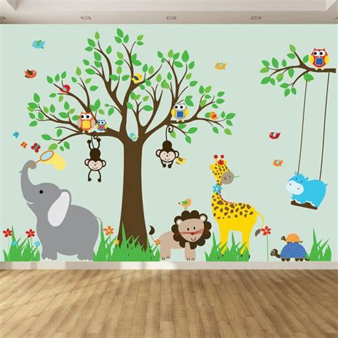wall decals  kids nursery wall art jungle wall