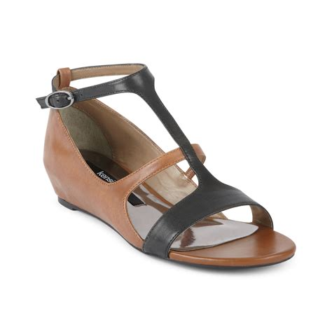 demi wedge sandals kensie zahra demi wedge sandals in brown black combo lyst