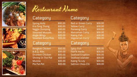 Thai Restaurant Menu Design Thai Restaurant Menu Templates Free