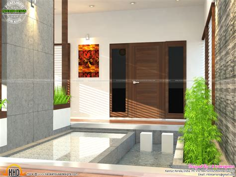 kerala home design with courtyard main bedroom bifurcated stair living and courtyard