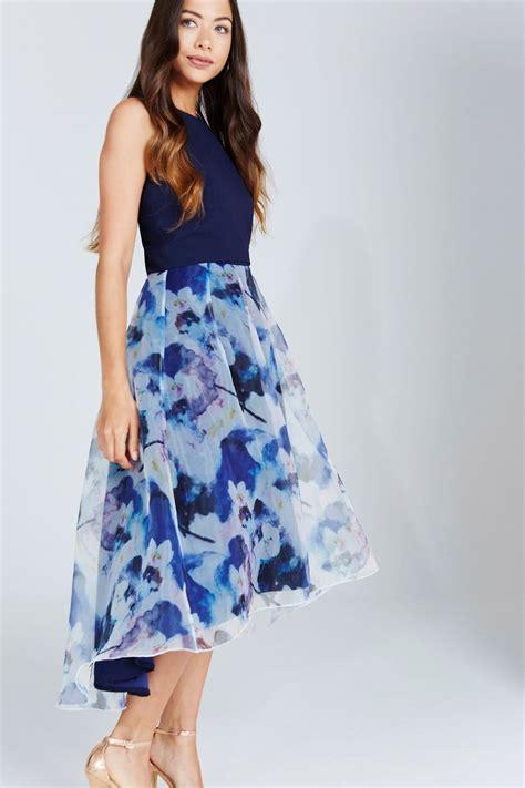 Hem Print Dress bloom print dip hem midi dress