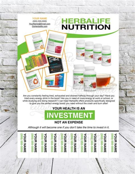 Custom Print Ready Herbalife Energy Products Contact Flyer Herbalife Flyer Template