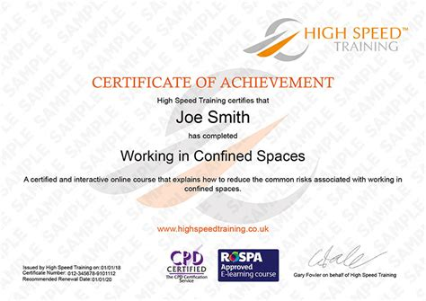 Working In Confined Spaces Procedure K K Club 2018 Confined Space Certificate Template