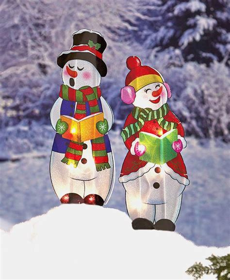 adorable lighted holographic two snowman carolers