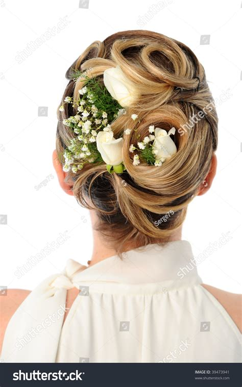 Wedding Hairstyles With Roses by Back View Of Wedding Hairstyle With Roses Stock