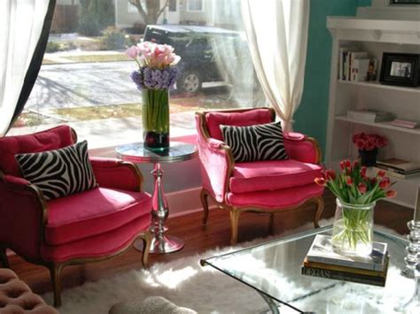 Pink Living Room Chair | hot pink chairs eclectic living room nest