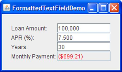 java swing text field only numbers how to use formatted text fields the java tutorials