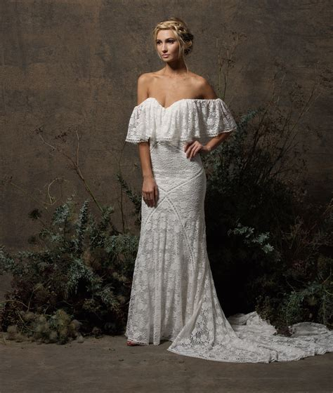 lizzy shoulder lace wedding dress dreamers and