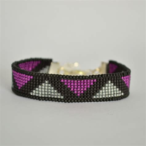 bead loom bracelet bead loom bracelet black and magenta beaded bracelet
