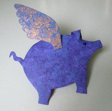 pig tree topper buy a custom tree topper metal when pigs fly blue purple gold 9 x 11 made to
