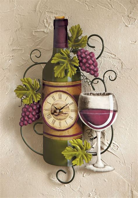 grape home decor wine bottle wall clock grapes vino country kitchen bar