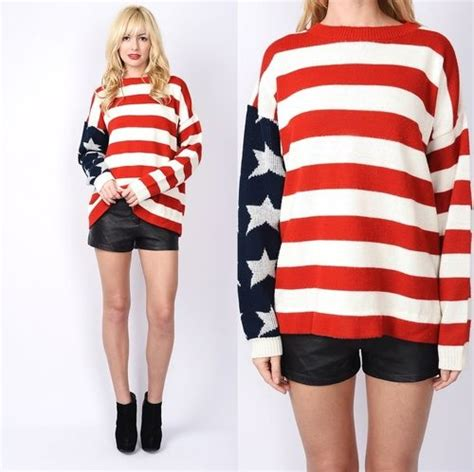 Lq Sweater Top Hodie Flag vintage 80s americana flag sweater knit top oversized stripe grunge s m l ebay the